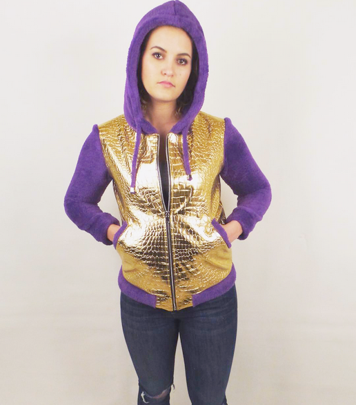 Womens Gold Faux Croc/ Purple Hoodie - Sample Item