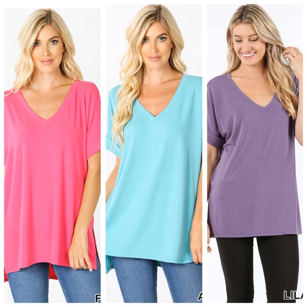 Zenana Roll Cuff Tee--Spring Colors
