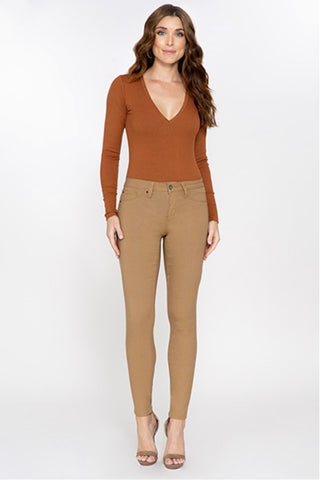 Royalty Mid Rise Hyper Stretch Skinny Pant -Dark Olive and Topaz (Dark Khaki)