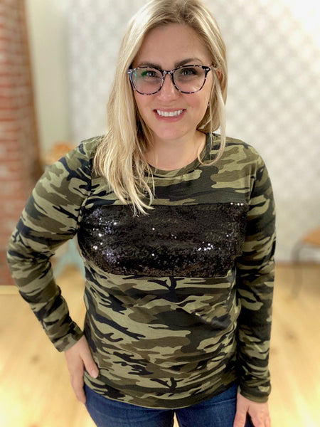 Sparkle & Shine Camo Top