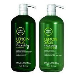 Paul Mitchell Tea Tree Lemon Sage Thickening Shampoo and Conditioner Liter Duo Set w/ Pumps
