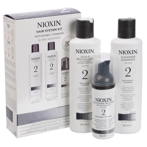 Nioxin System 2 Noticeably Thinning Fine Hair Kit for Unisex-3-Count