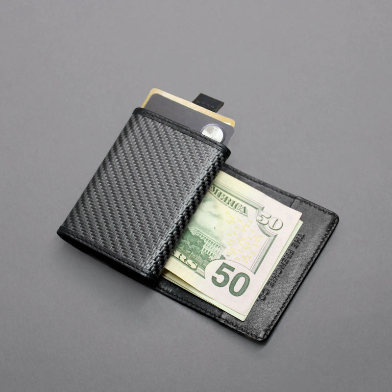 Carbon Fiber Speed Wallet Mini Black Open