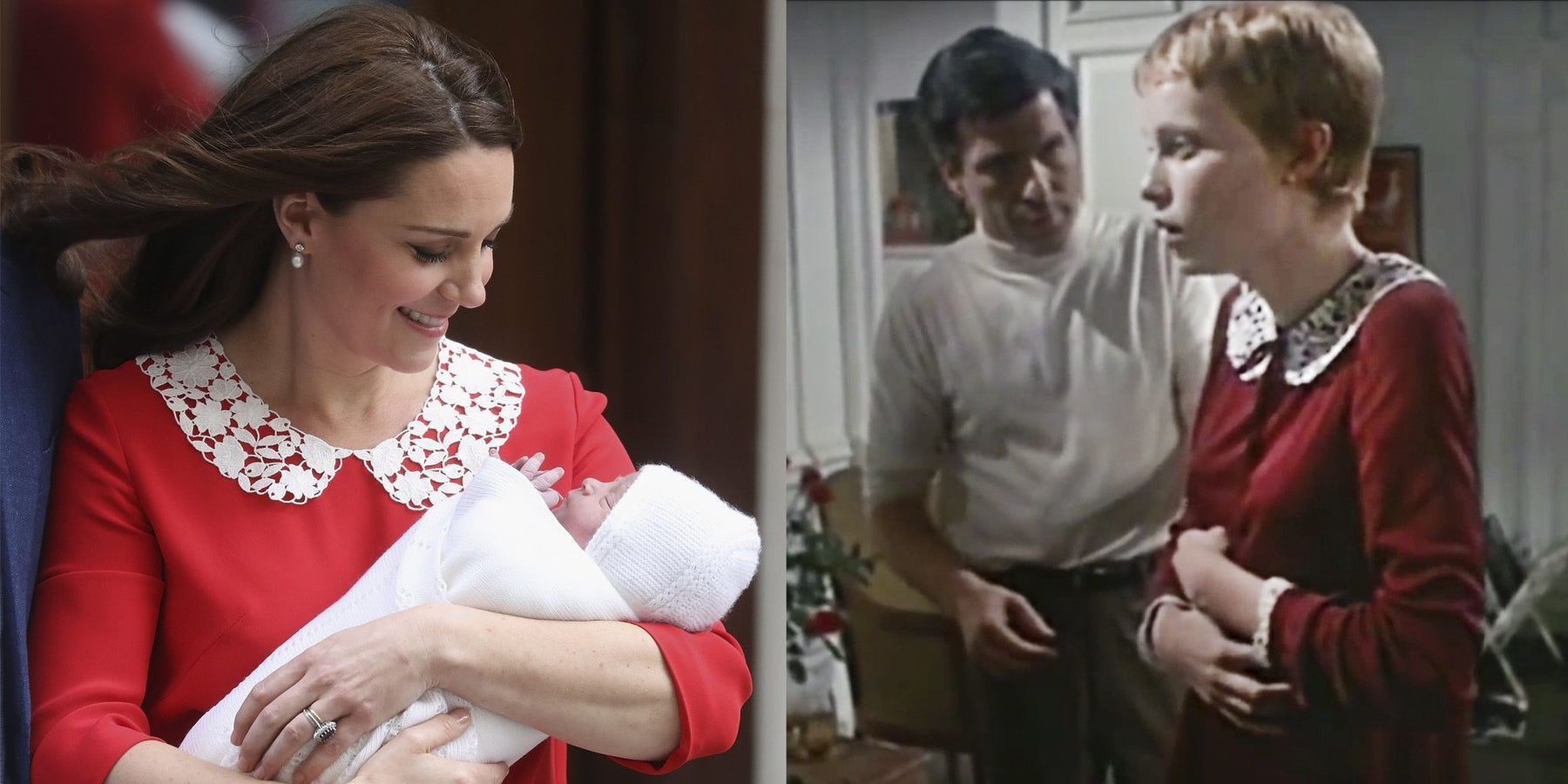 The Surprising Dress Some Twitter Users are Comparing Kate Middleton's Baby Reveal Dress To