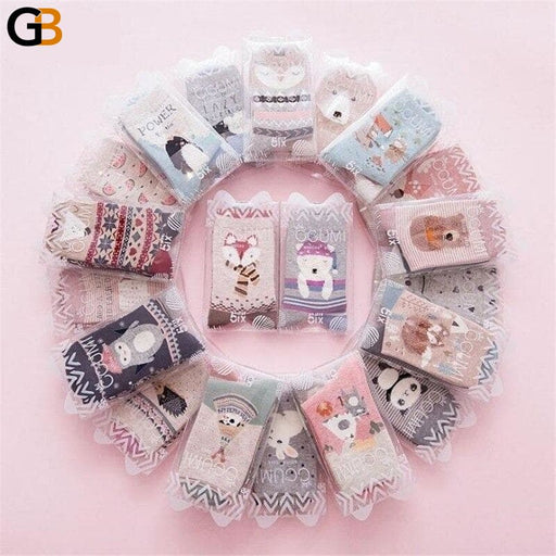 2Pairs Per Lot Winter Autumn Women's Cotton Funny Cartoon Pattern Socks - SolaceConnect.com