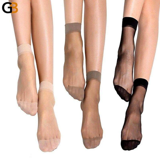 Summer Sexy Black Ultrathin Transparent Crystal Silk Socks for Women - SolaceConnect.com
