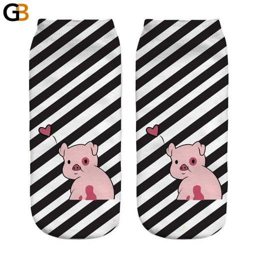 3D Animal Printed Pink Cute Pigling Cotton Ankle Socks for Women - SolaceConnect.com