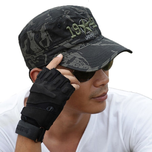 Handsome Cotton Military Camouflage Hat with Falcon Base for Men - SolaceConnect.com