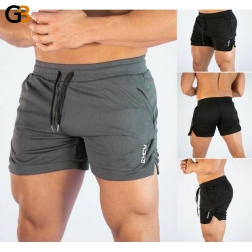 Solid Color Men's Fitted Board Shorts for Bodybuilding Workout and Beach - SolaceConnect.com