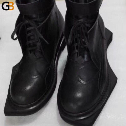 Fashion Runway Genuine Leather Ankle Boots Men Vintage Geometric Sole Lace Up Work Autumn Round - SolaceConnect.com