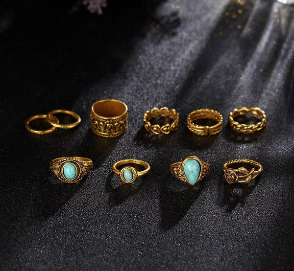 Unisex 2 Colors Rose Heart Vintage Tibetan Flower Knuckle Ring - SolaceConnect.com