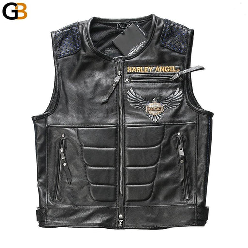 97108 For super Motor rider Mens cow leather vest genuine cowhide leather motorcycle rider vest - SolaceConnect.com