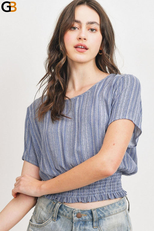 Denim Ivory Woven Printed Crinkle Gauze Waist Smocking Short Sleeve Top - SolaceConnect.com