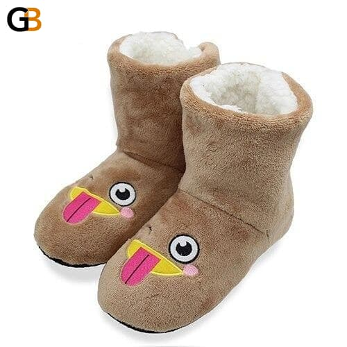 Cartoon Cute Indoor Slippers Reindeer Pattern Plush Indoor Cotton Shoes Non slip EVA Sole Floor - SolaceConnect.com
