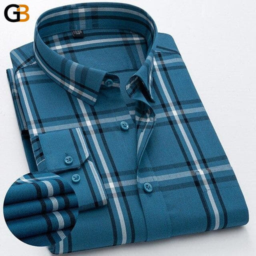 Holiday Style Breathable Cotton Plaid Long Sleeve Casual Shirts for Men - SolaceConnect.com