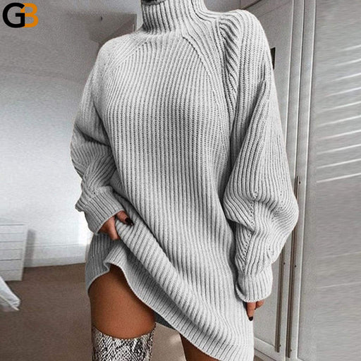 Women's Casual Long Sleeve Oversized Mini Turtleneck Sweaters - SolaceConnect.com