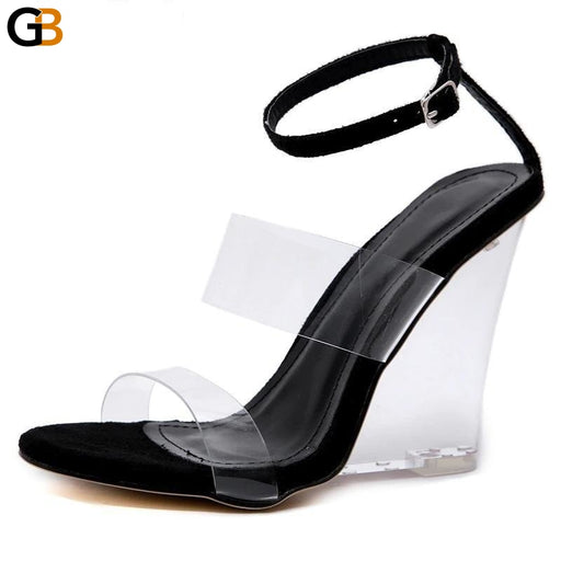 Classic PVC Sandals Women Transparent Heel Wedges High Heels Shoes Round Toe Summer Buckle Strap - SolaceConnect.com