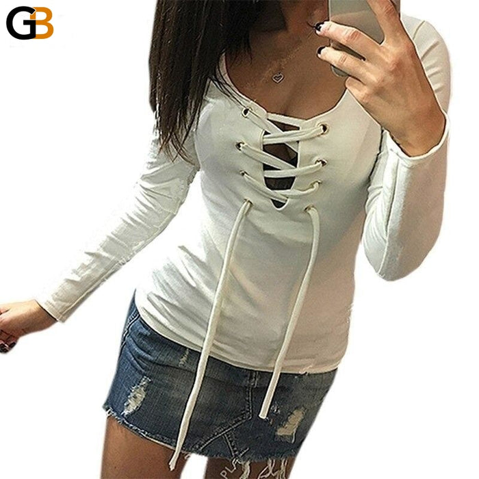 Autumn European Fashion Lace Up V Neck Hollow Out Women's T-Shirt - SolaceConnect.com