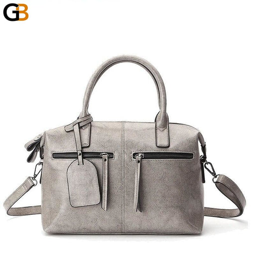 Women's Solid Genuine Leather Luxury Designer zipper Handbags - SolaceConnect.com