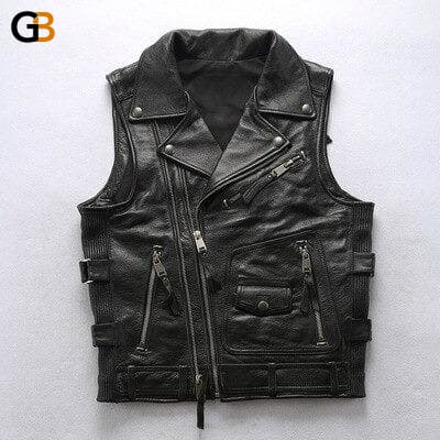 180906 Mens Cool Rider Cow Leather Waistcoat Genuine Cowhide Motorcycle Stylish Vest - SolaceConnect.com