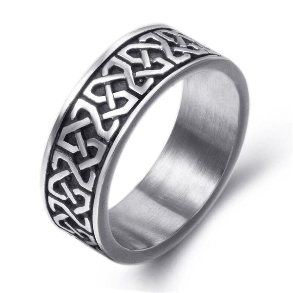 Men's Stainless Steel Silver Black Biker Ring with Celtic Knot Design - SolaceConnect.com
