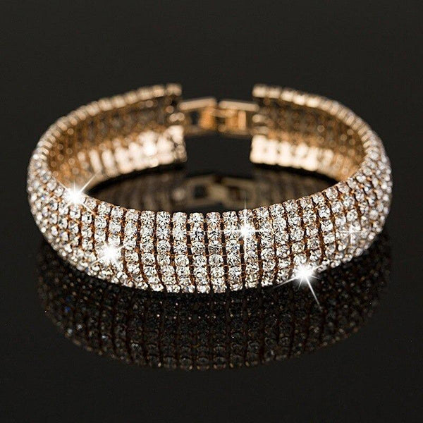 Price Gold and Silver Color Classic Crystal Pave Link Women's Bracelets - SolaceConnect.com