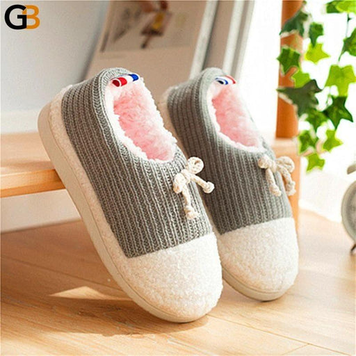 Home Slippers Woman Knitting Winter Warm Plush Women Slippers Plush Slippers Indoor Shoes Women - SolaceConnect.com