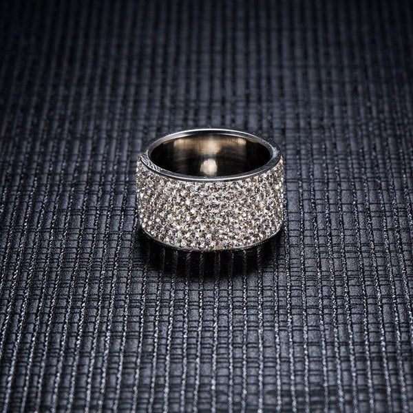 Fashion Stainless Steel Bague Full Crystal Romantic Wedding Rings for Women - SolaceConnect.com