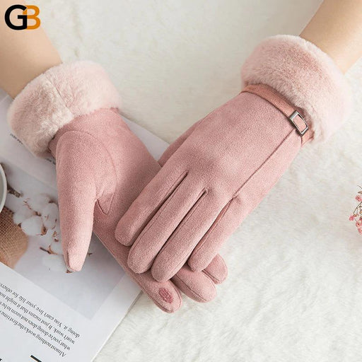 Female Winter Warm Cashmere Double Thick Three Ribs Lace Touch Mittens - SolaceConnect.com