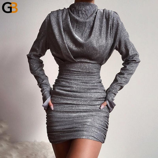 Turtleneck Women Long Sleeve Glitter Party Dress Mini Sexy Club Ruched Silver Autumn Winter Lady - SolaceConnect.com