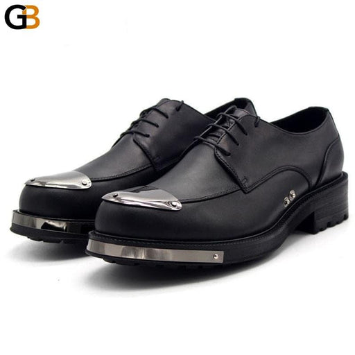 Leather Shoes Men Height Increasing Platform Derby Handmade Casual Mens Formal Shoes Business Office - SolaceConnect.com