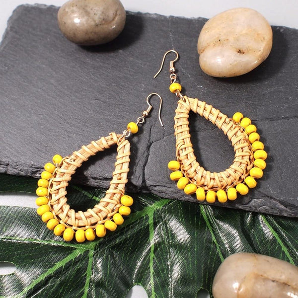 Bohemian Straw Rattan Resin Bead Multicolor Water Drop Statement Earrings - SolaceConnect.com