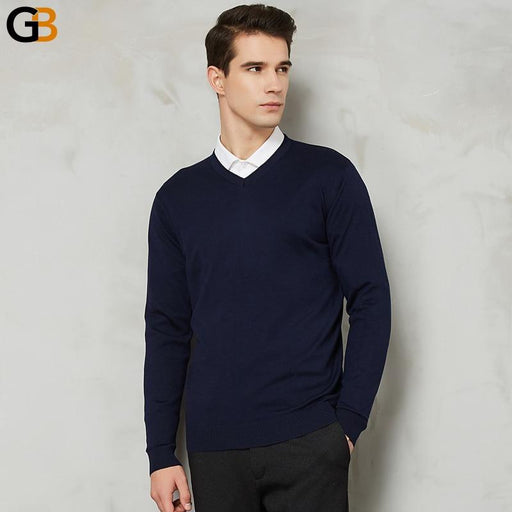 Cashmere Knitted V-Collar Slim Fit Casual Business Men Sweater in 14-Color - SolaceConnect.com