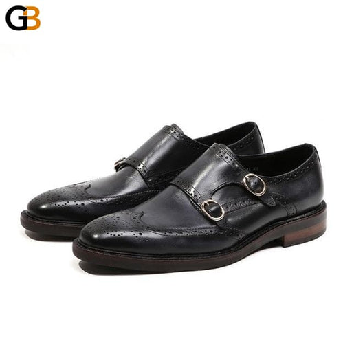 Office Men Work Formal Brogues Monk Shoes Vintage Wing Tip Luxury Cow Real Leather Wedding Dress Shoes Slip On Loafers Homme - SolaceConnect.com