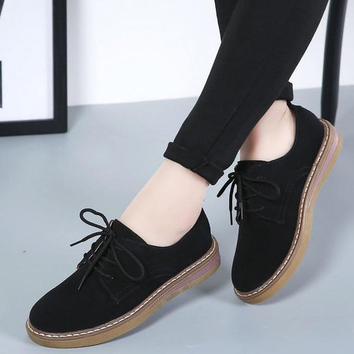 Genuine Leather Women's Casual Cow Suede Boat Fashion Flat Slip-on Shoes - SolaceConnect.com