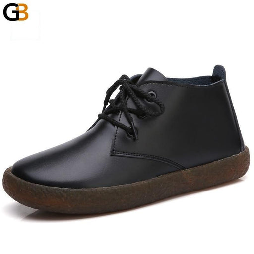 Genuine Leather Casual Flats Moccasins for Women with Lace-Up - SolaceConnect.com