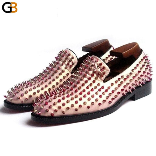 Fashion Men Pink Night Club Party Slip On Loafers Handmade Rivet Wedding Genuine Leather Dress Shoes - SolaceConnect.com