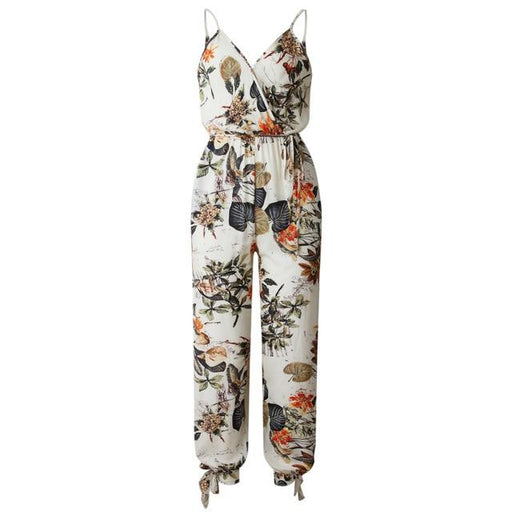 Summer Women's Sleeveless V-neck Boho Floral Jumpsuits with Wide Leg - SolaceConnect.com