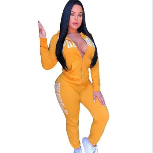 Spring Letter Pink Print Tracksuit Women Casual Outfits Two Piece Set Pants Suits Plus Size Clothing - SolaceConnect.com