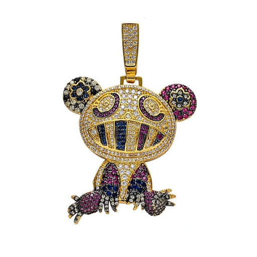 Unisex Multicolor Frog Pendant Necklace Micro Pave Zircon Charm Gift Chain - SolaceConnect.com
