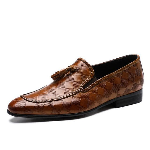 Genuine Bullock Leather Men's Slip-On Business Shoes with Tassel - SolaceConnect.com
