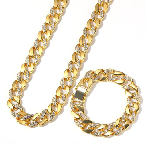 2 Color Iced Out Cuba Chain Rhinestone Hip Hop Men's Hipster Necklace - SolaceConnect.com