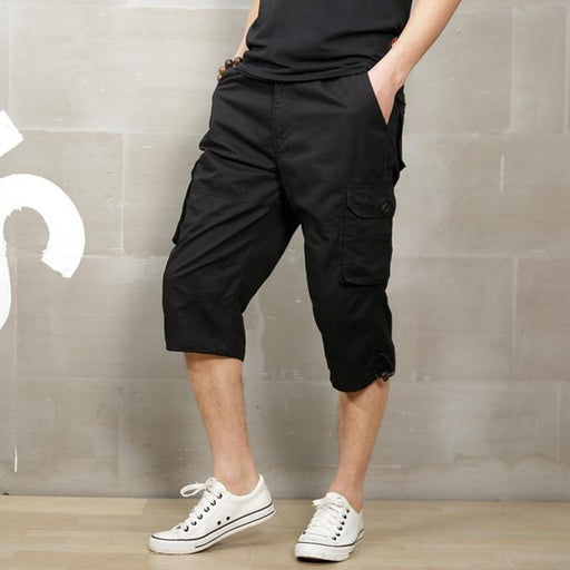 Summer 2019 Long Length Cargo Shorts Men Knee Pocket Casual Cotton Elastic Waist Bermudas Male - SolaceConnect.com