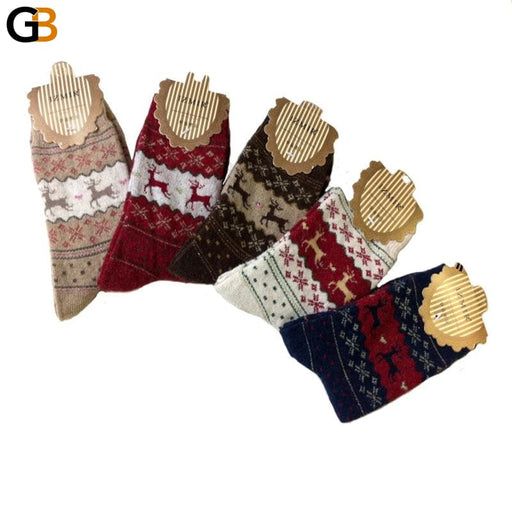 1Pair Warm Winter Women's Men's Mid-Calf Comfortable Christmas Socks with Deer - SolaceConnect.com