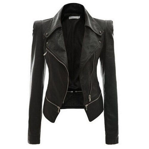 Gothic Black Synthetic Leather Jacket with Moto Zippers for Women - SolaceConnect.com