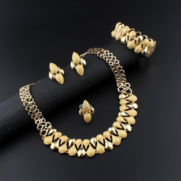 dubai jewelry set Necklace set earring Bracelet Wedding decoration for womens african beads jewelry - SolaceConnect.com