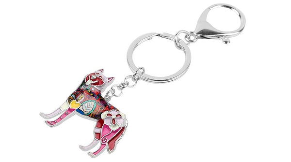 Charm Siberian Husky Dog Enamel Key Chain Key Ring Jewelry for Women - SolaceConnect.com