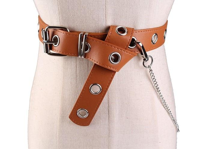 Fashion Silver Pin Buckle Detachable Chain Women's Leather Belts - SolaceConnect.com