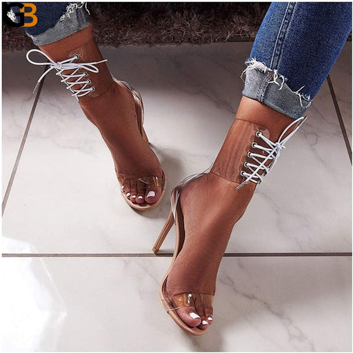 Gladiator Transparent PVC Peep Toe Lace Up High Heel Sandals Sexy Dress Heels for Women Ladies - SolaceConnect.com