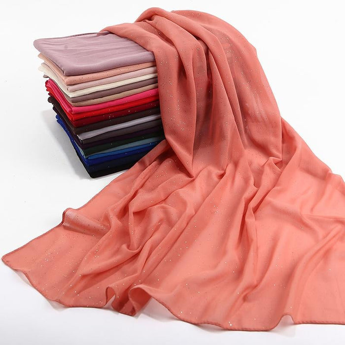 women plain bubble chiffon scarf hijab wrap printe solid color shawls headband muslim hijabs - SolaceConnect.com